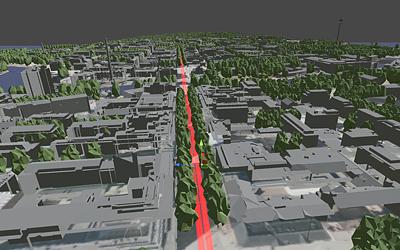 Tampereen 3D-mallissa voi tarkastella tulevaisuuden ratikkareittiä katutasolta