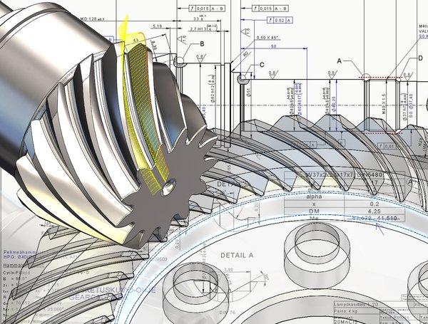 Kaarevahampainen kartiohammaspyörä on haastava kappale tehdä. Sen muoto on hyvin monimutkainen ja vaatii suurta tarkkuutta sekä suunnittelussa että valmistuksessa. Kuva: Ata Gears Oy.