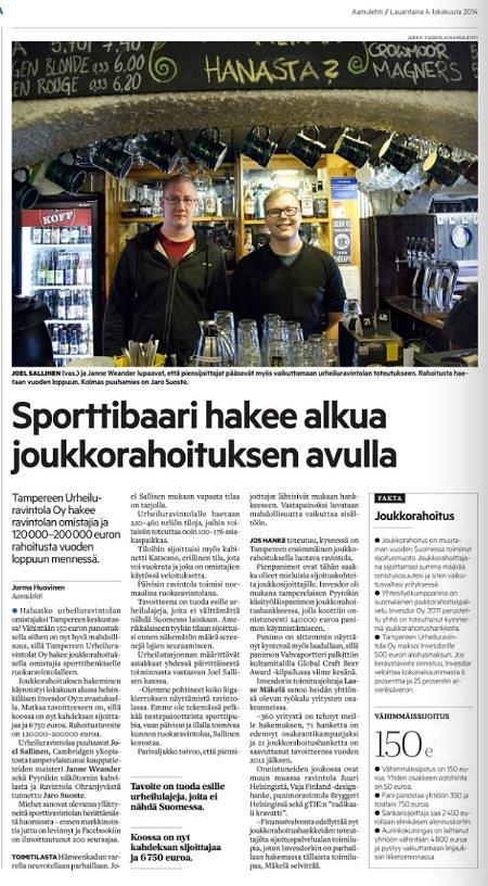 Aamulehti kirjoitti projektista 3.10.2014