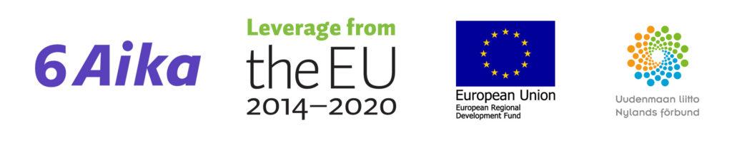 Logot: 6Aika, Leverage EU, EU flag, Uudenmaan liitto
