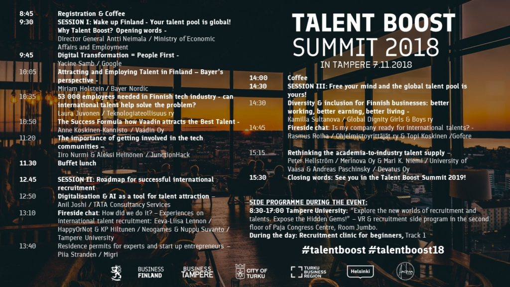 Program for the Talent Boost Summit in Tampere