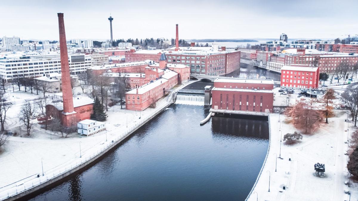 Talvinen Tampere, Tammerkoski ja Koskipuisto