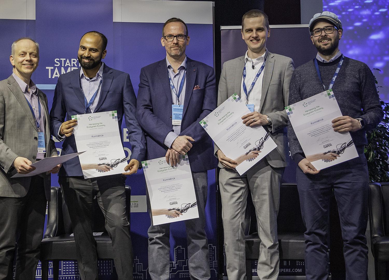 i2019 Tampere Industry Startup Forumin pitchauskilpailun voittajat.