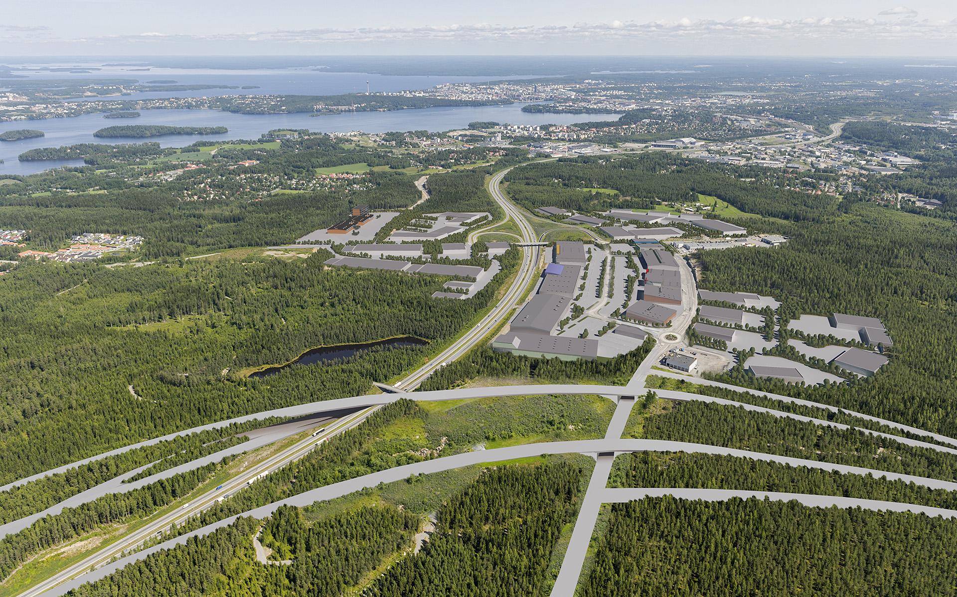 Pirkkala Linnakallion yritysalue - ilmakuva