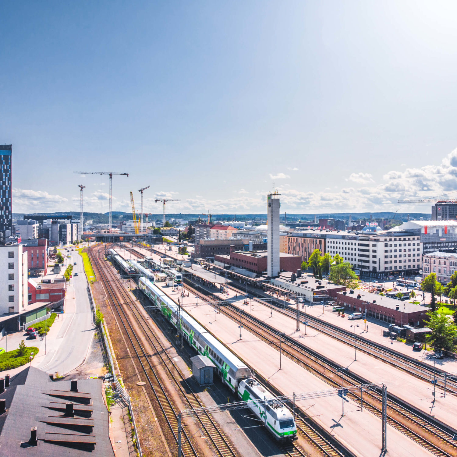Visio Visit Tampere Train Station railway drone view Laura Vanzo 2