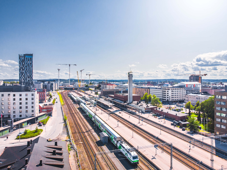 Visio Visit Tampere Train Station railway drone view Laura Vanzo 2