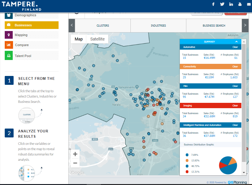 Tampere Region Business Explorer data view