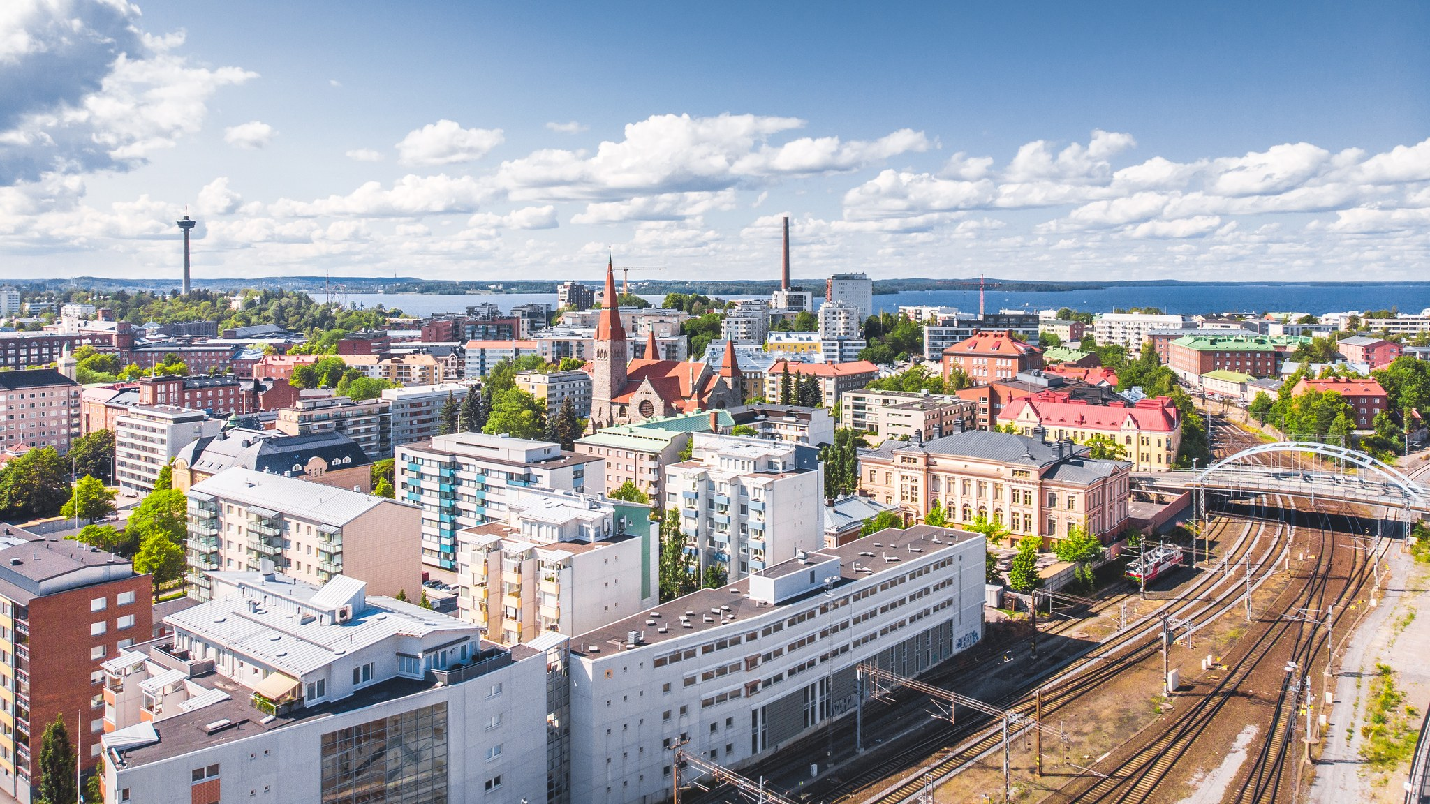 Visit Tampere Train Station railway drone view Laura Vanzo 3