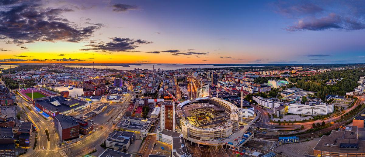 Tampere city skyview with arena. Photo: Marko Kallio